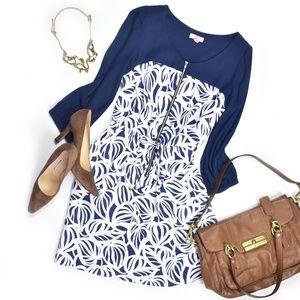 Lilly Pulitzer Dress drawstring waist 3/4 Sleeve